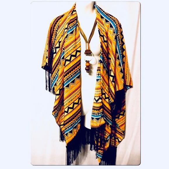 Cultural Print Shawl Wrap
